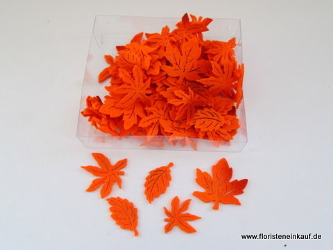 Filz-Herbstlaub-Streu, 3-fach sort., 72 St./Box, 3-4cm, orange