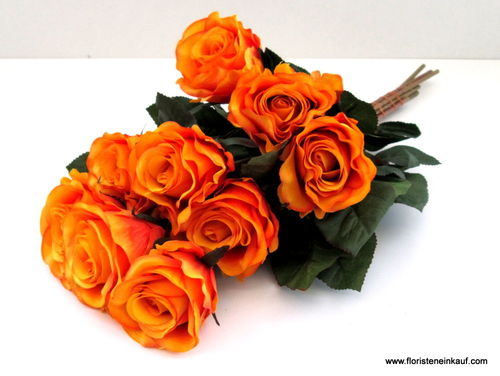Rose Marissa, orange, L 40 cm, D 7,5 cm, 9 Stck.